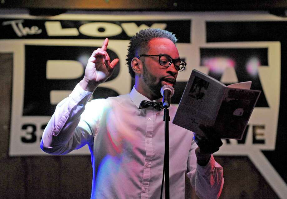 Featured poet Daniel Summerhill during the Nitty Gritty Slam event at The Low Beat on Tuesday April 5, 2016 in Albany, N.Y. (Michael P. Farrell/Times Union) Photo: Michael P. Farrell / 10036069A
