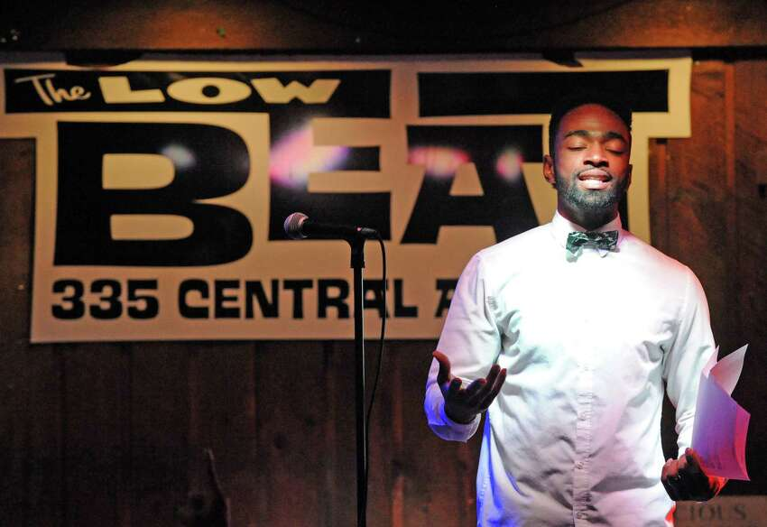 Featured poet Daniel Summerhill during the Nitty Gritty Slam event at The Low Beat on Tuesday April 5, 2016 in Albany, N.Y. (Michael P. Farrell/Times Union)