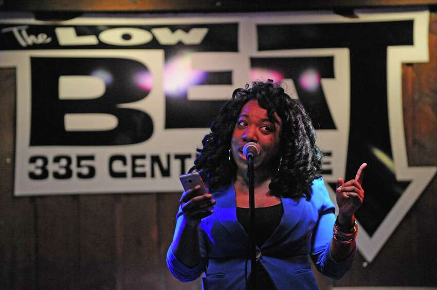 Tenesha Smith performs during the Nitty Gritty Slam event at The Low Beat on Tuesday April 5, 2016 in Albany, N.Y. (Michael P. Farrell/Times Union)