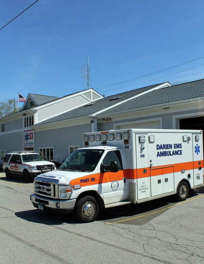 An ambulance outside the Post 53 headquarters. Photo: Thane Grauel / Hearst Connecticut Media / Darien News