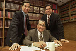 Roy Barrera, Sr. with his sons Roy Barrera, Jr. and Bobby Barrera in a 2001 photo.