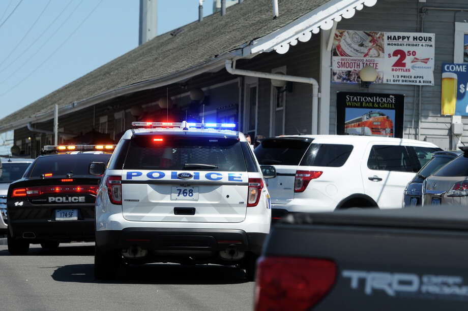 The scene at the Stratford train station where a person was struck and killed by a Metro-North train Friday afternoon, in Stratford, Conn. April 15, 2016. Photo: Ned Gerard / Hearst Connecticut Media / Connecticut Post