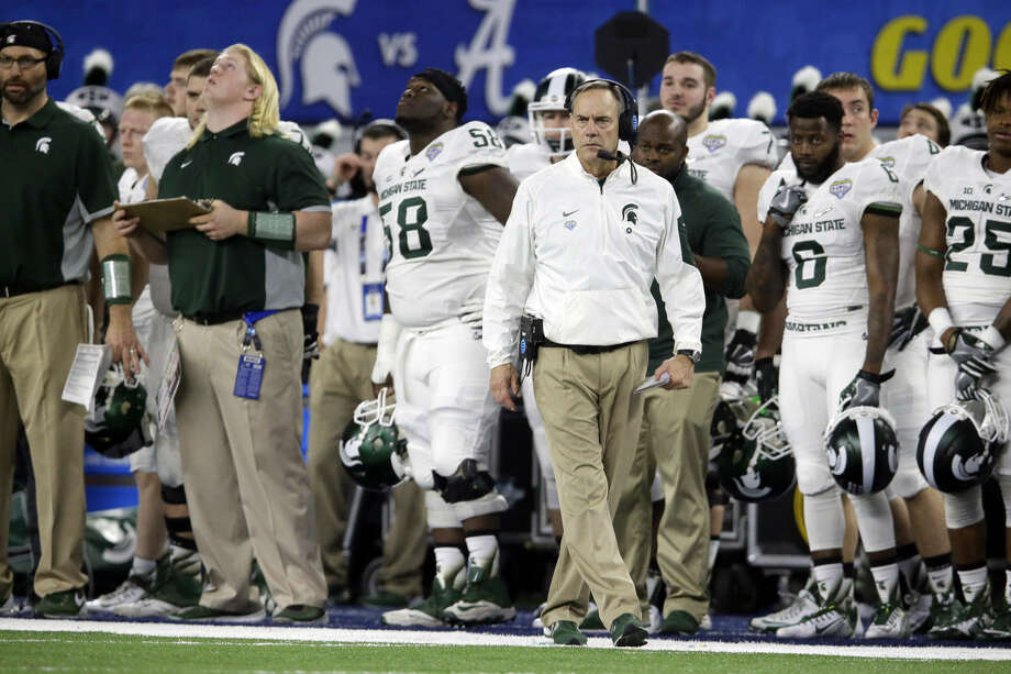 Michigan State head coach Mark Dantonio walks the sideline against Alabama during the first half of the Cotton Bowl NCAA college football semifinal playoff game, Thursday, Dec. 31, 2015, in Arlington, Texas. (AP Photo/LM Otero) Photo: LM Otero