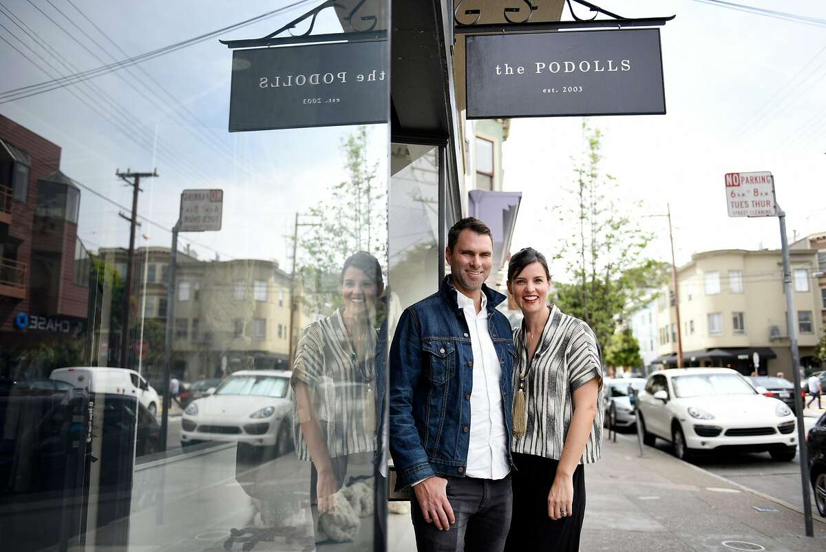 Josh and Lauren Podoll pose for a portrait at their sustainable fashion and design store, The Podolls, in San Francisco, CA Tuesday, April 19, 2016.