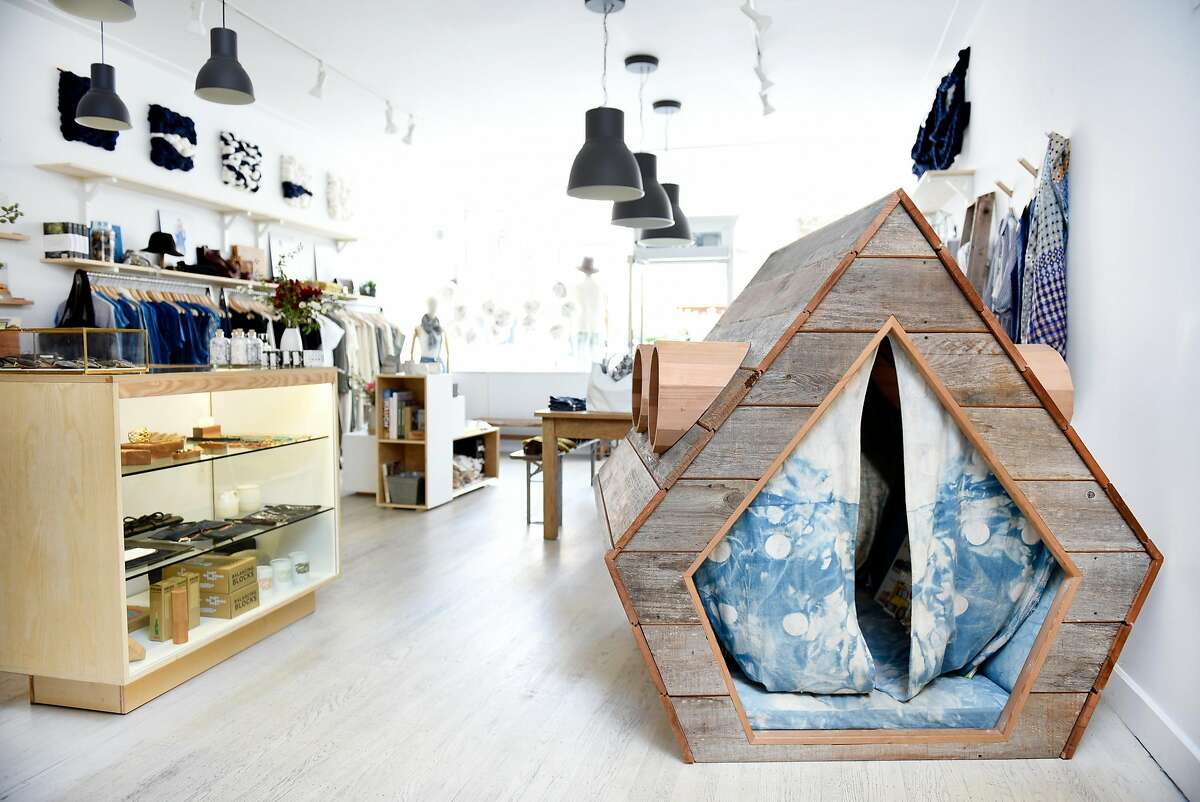 A playhouse built by artist Jay Nelson is seen on display in the sustainable fashion and design store, The Podolls, in San Francisco, CA Tuesday, April 19, 2016.