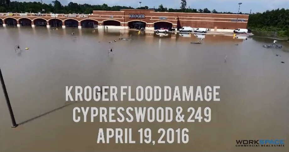 The team at WorkSpace Commercial Real Estate in Houston captured this aerial drone footage April 19, 2016 of the deadly Houston floods. The footage was shared on the company's Facebook page and shows the flood's impact on the neighborhoods and businesses in the Cypresswood area of Highway 249/Tomball Parkway in north Harris County. Photo: WorkSpace Commercial Real Estate