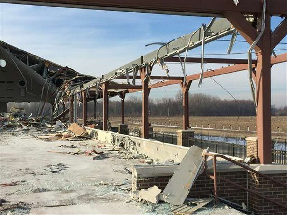 Demolition is underway at the abandoned Pinnacle Race Course in Wayne County on Monday, Jan. 25, 2016. (J.C. Reindl/Detroit Free Press via AP)