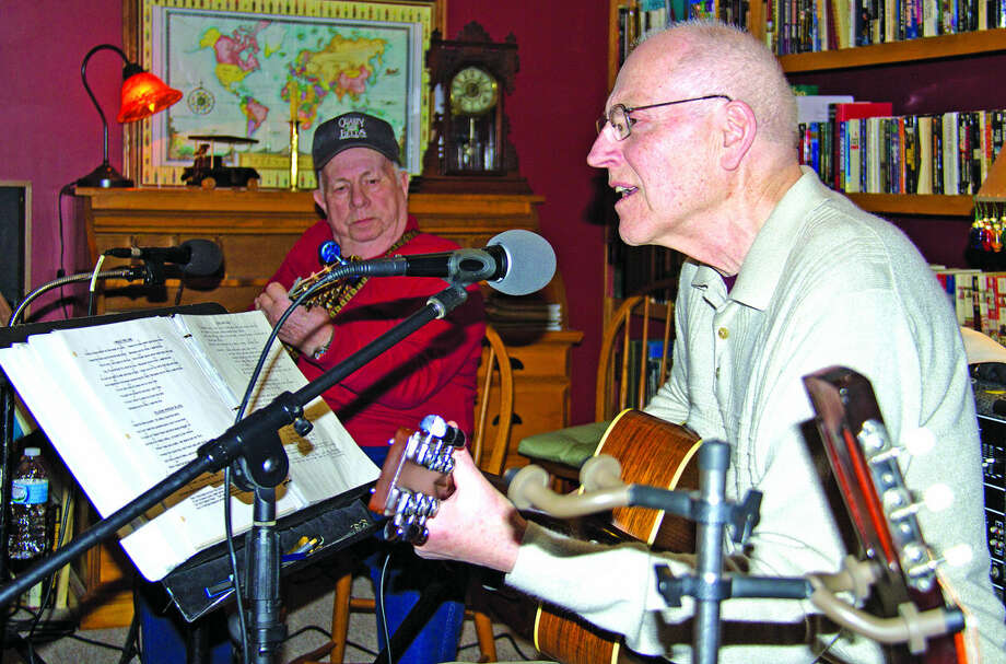 """The Eastern Michigan Music Makers, Rich Wrobleski of Sebewaing and Bill Slaughter of Decker, provide entertainment during the recent Huron County Homeless Solutions fundraiser called """"Have a Heart for the Homeless,"""" which took place at the Lodge at Oak Pointe. Photo: Bill Diller/For The Tribune"""
