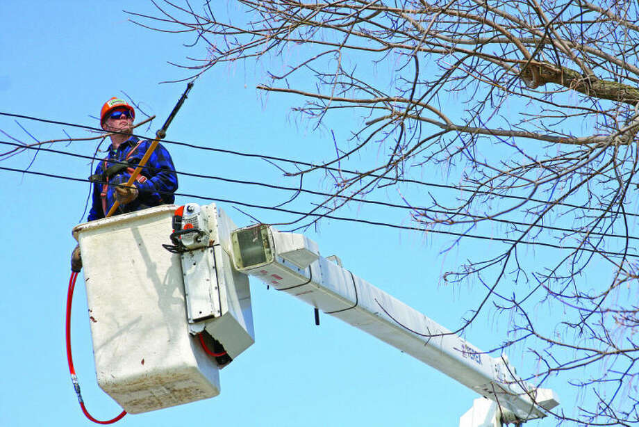 Chris Aldridge/Huron Daily TribuneLarry Hicks, high above a neighborhood on the east side of Bad Axe, makes another snip for Kappen Tree Service and DTE Energy. For 40 years, Hicks has been trimming the branches that get too close to the power lines.