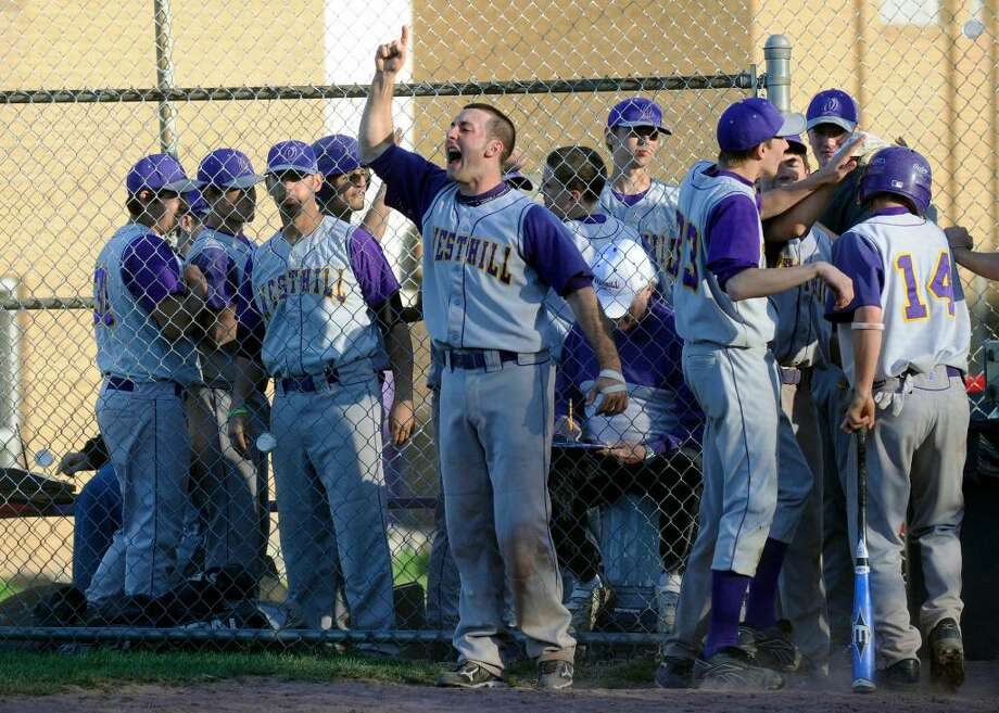 Westhill's Tyler Rich reacts after the Vikings get another run as Westhill hosts Wilton in a boys baseball game Wednesday afternoon, April 14, 2010. Westhill won 11-2. Photo: Keelin Daly / Stamford Advocate