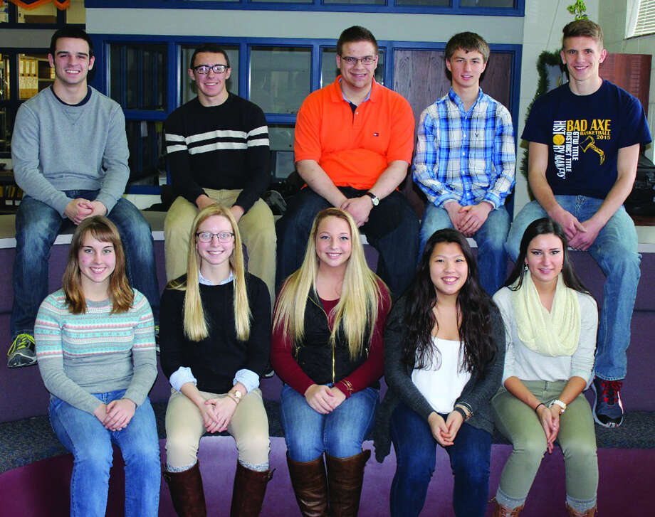 The Bad Axe Snow Carnival Week senior representatives are, from left, (bottom row), Isabel Humphrey-Phillips, Kayla Essenmacher, Mackenzie Miller, Alicia Ng and Mariah Teeple; and (top row), Jacob Hass, Josh Brown, Mason Lange, David Errer and Andrew Sutton. The underclassmen representatives are Abby Newland, Ruoyi Chen, Tess McManaman, Ryan Wehner, Chavid Dhammongkol and Ryan Heleski. The Bad Axe boys basketball team will play the Vassar Vulcans Friday, and the representatives will be walking at halftime of the varsity game. The junior varsity game starts at 6 p.m., followed by the varsity team at 7:30 p.m. Photo: Submitted Photo