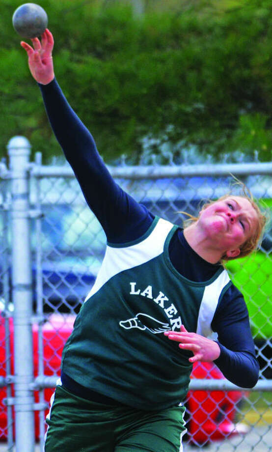 EPBP's Kayla Deering throws the shot put at the Division 3 regional. She successfully defended her state championship, winning her third straight title, Saturday