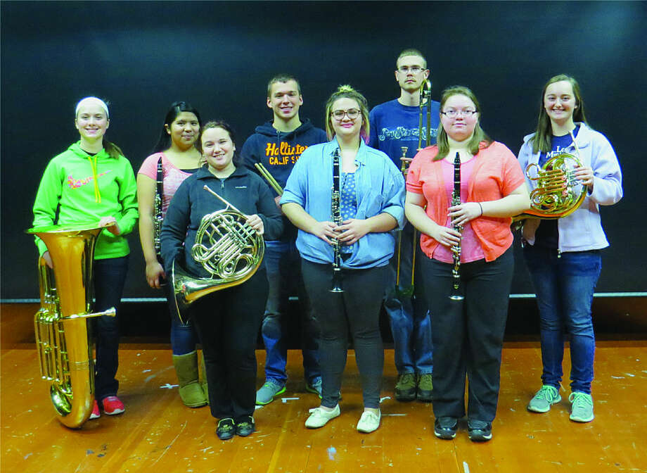 The Laker students include, front row, from left, Josie Luttman, French horn; Faith Malkowski, clarinet; and Joy Bonke, clarinet; and in the back row, from left, Halle Keim, tuba; Martha Moreno, clarinet; Jake Bushey, percussion; Isaac Elston, trombone; and Megan McGehee, French horn. Missing from the photo are Rebecca Dubs, percussion, and Derek Moreno, clarinet. Photo: Submitted Photo