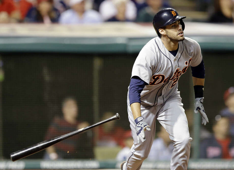 FILE - In this June 20, 2014, file photo, Detroit Tigers' J.D. Martinez watches his ball after hitting a three-run home run off Cleveland Indians relief pitcher John Axford in the eighth inning of a baseball game in Cleveland. A person with knowledge of the deal says Martinez has agreed to an $18.5 million, two-year contract with the Detroit Tigers, avoiding salary arbitration. The person spoke Monday night, Feb. 8, 2016, on condition of anonymity because the deal had not been announced. (AP Photo/Tony Dejak, File) Photo: Tony Dejak