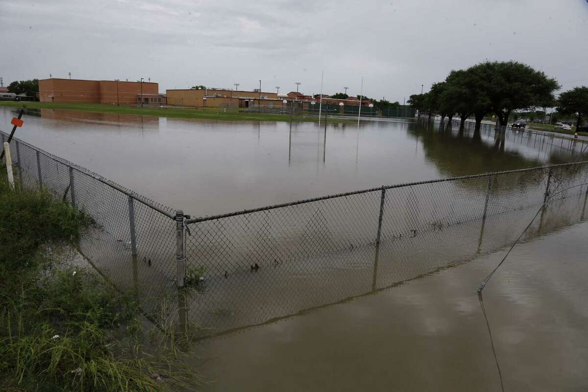 Flooding can be seen at Cypress-Fairbanks Independent School District's Arnold Middle School on April 20, 2016.