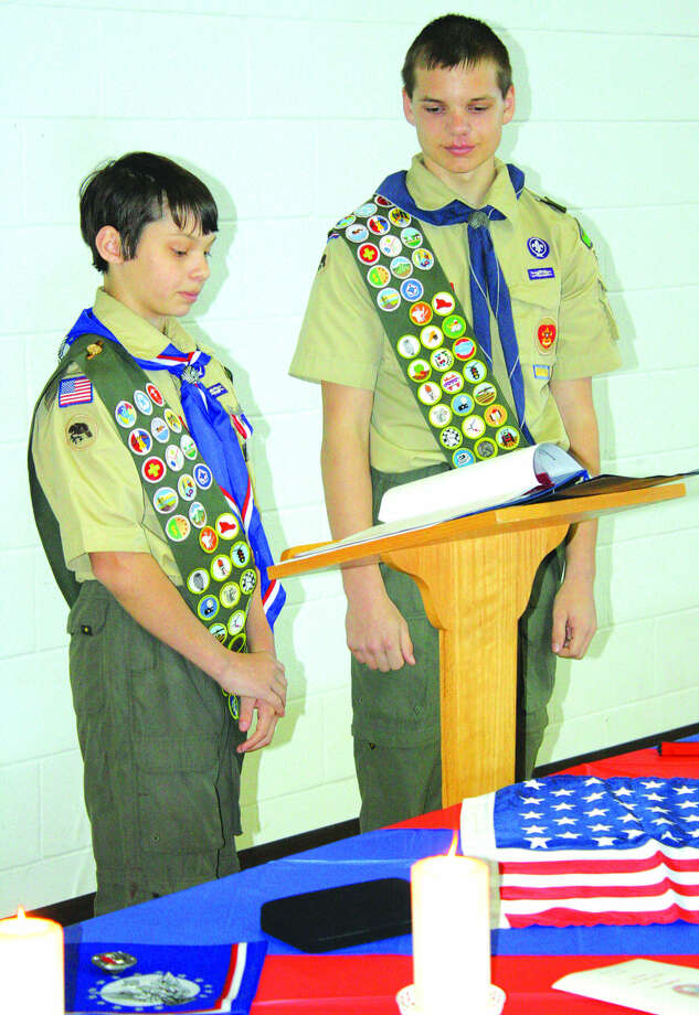 Isaac Booms, left, and Ryche Roggenbuck are now Eagle Scouts. Photo: Rich Harp/For The Tribune