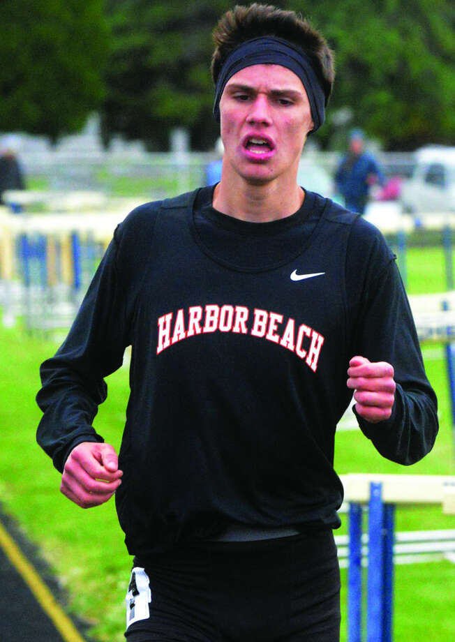 Harbor Beach's Luke Anderson is seen here competing at the Huron Daily Tribune Meet of Champions. On Saturday, Anderson won Division 4 state titles in the 800 and 1,600, while finishing third in the 3,200 and 1,600 relay.  Photo: Paul P. Adams/Huron Daily Tribune