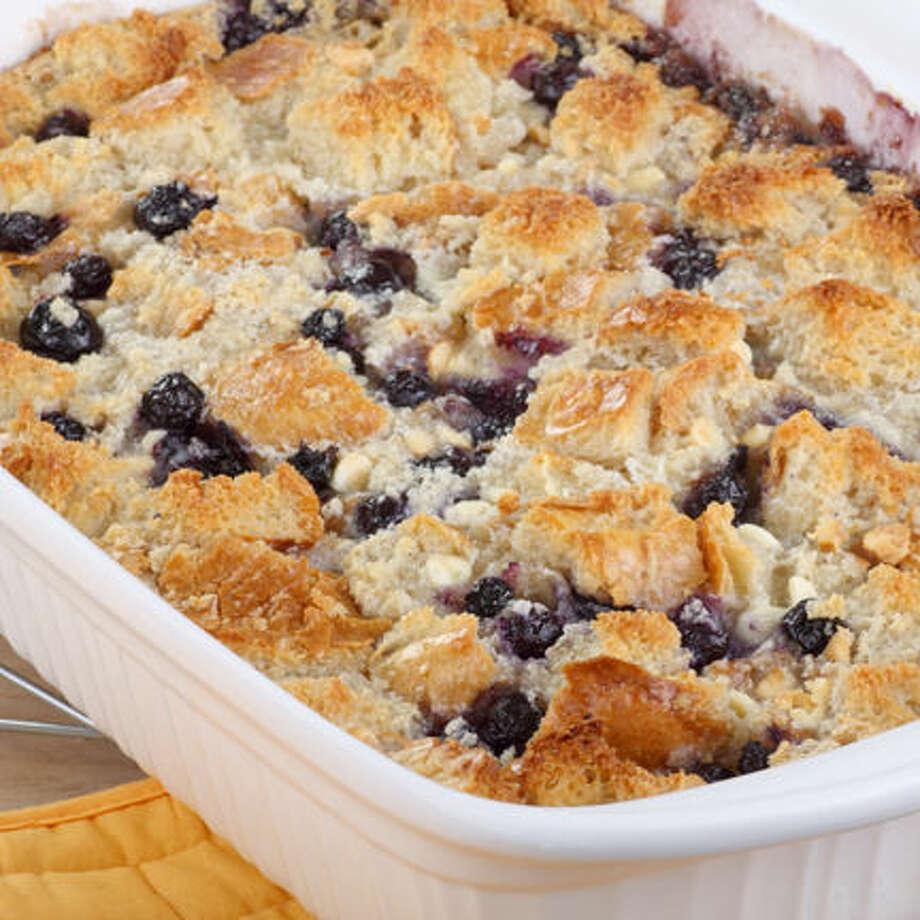 Baked blueberry cobbler in a baking dish Photo: Charles Brutlag