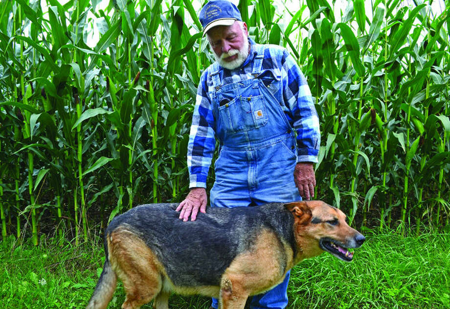 "Fred Hasen, a Gore Township farmer since 1966 seen here with his dog Nicki, said the EPA's proposal is ""plain foolish."" Photo: Chris Aldridge/Huron Daily Tribune"
