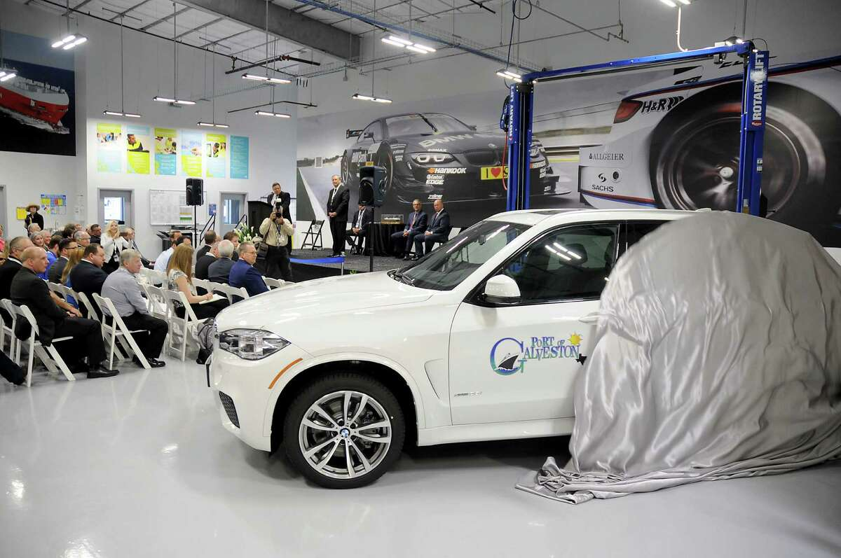 A new BMW suv is presented to the Port of Galveston during opening ceremonies at the new BMW Vehicle Distribution Center on Harborside Drive in Galveston Wednesday April 20,2016(Dave Rossman Photo)
