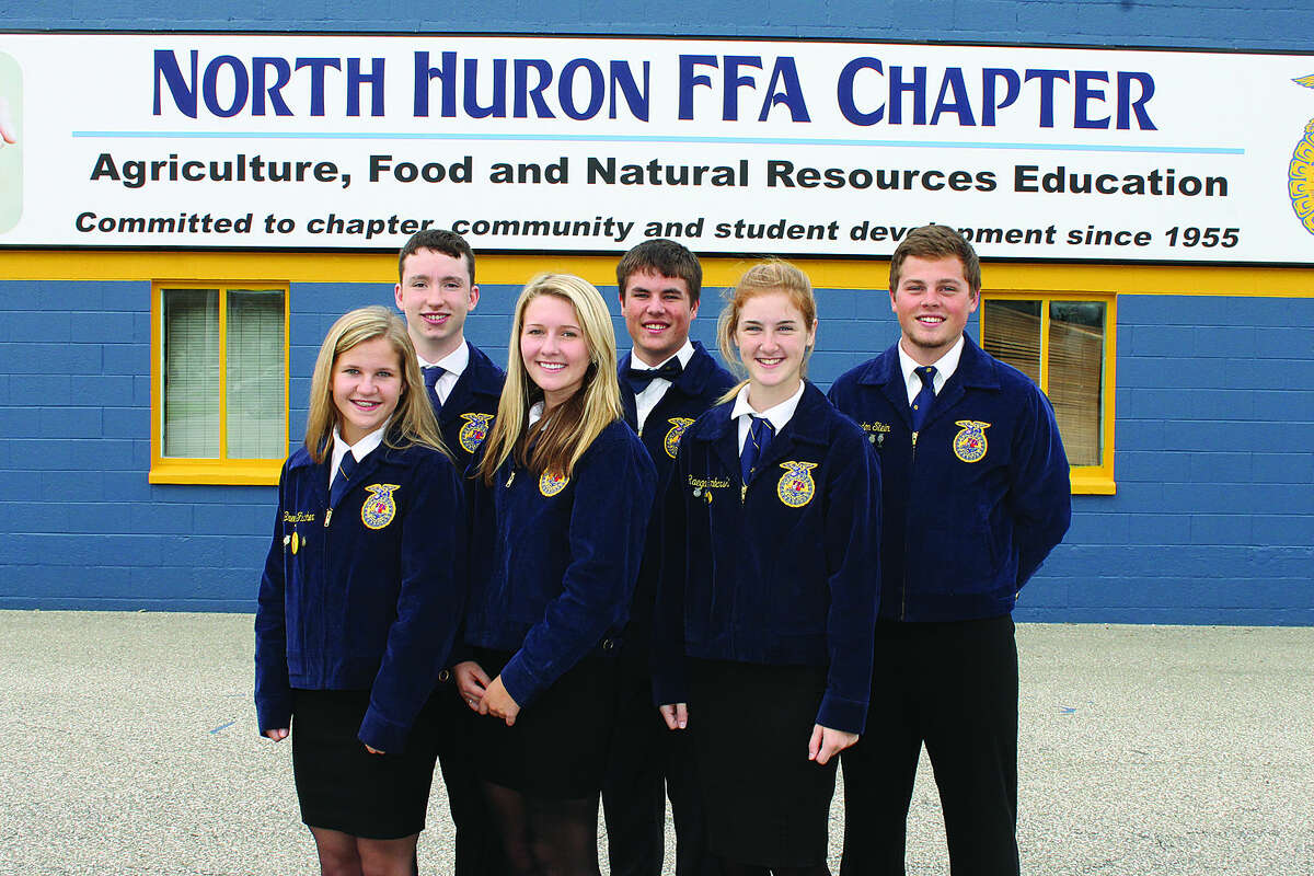 9792: The North Huron FFA Agricultural Issues Team consists of, from left, Breezy Fischer, Raymond Heins, Meghan Goretski, Tyler Gorkowski, Raegan Gembarski, and Brandon Stein. (Submitted Photo)