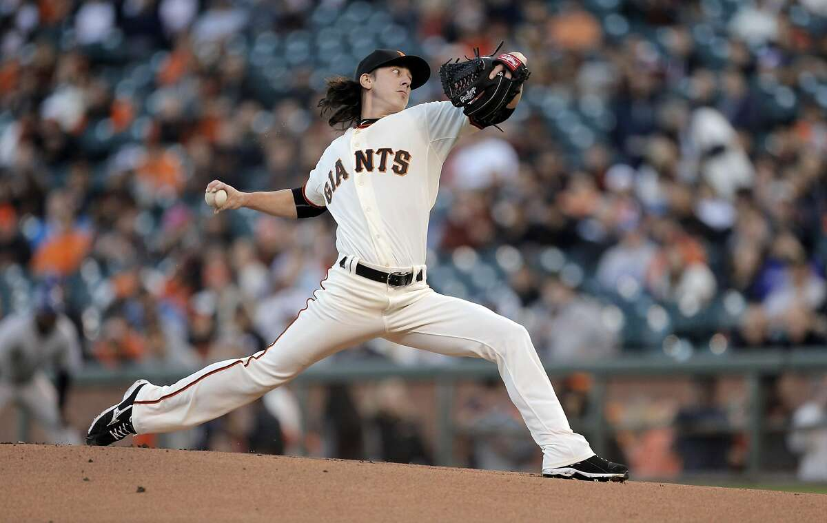 Tim Lincecum (55) pitches in the first inning. The San Francisco Giants played the Colorado Rockies at AT&T Park in San Francisco, Calif., on Wednesday, April 15, 2015.