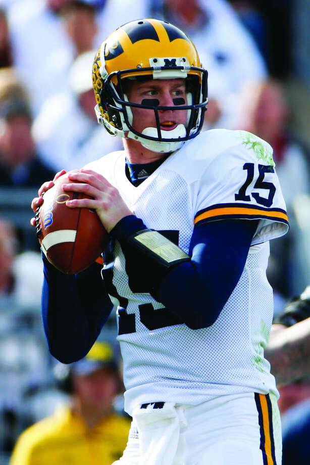 Michigan quarterback Jake Rudock (15) plays during an NCAA college football game against Penn State in State College, Pa., Saturday, Nov. 21, 2015. (AP Photo/Gene J. Puskar) Photo: Gene J. Puskar