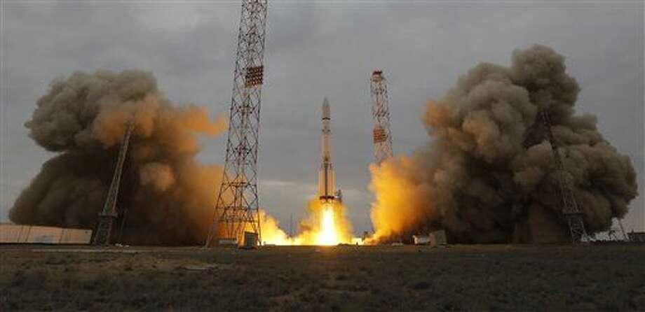 Despega el cohete que lleva una sonda que explorará Marte, desde la plataforma espacial en Baikonur, Kazajstán, el lunes 14 de marzo del 2016. (AP Photo/Dmitri Lovetsky) Photo: Dmitri Lovetsky