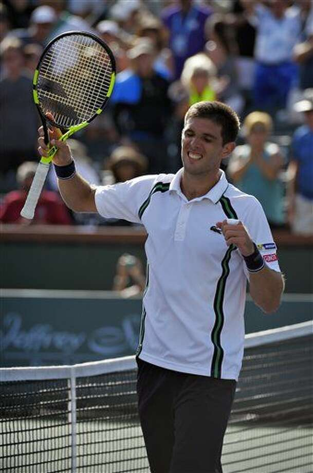 El argentino Federico Delbonis tras vencer al británico Andy Murray en el torneo de Indian Wells el lunes 14 de marzo de 2016. (AP Foto/Mark J. Terrill) Photo: Mark J. Terrill