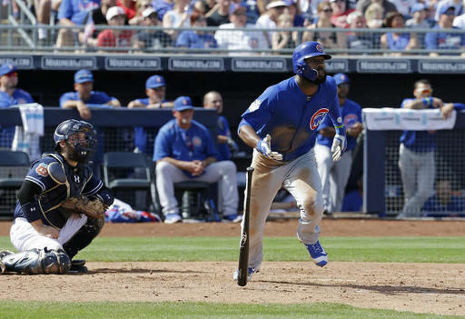 Chicago Cubs' Jason Heyward watches a three-run double during the third inning of a spring training baseball game against the San Diego Padres on Tuesday, March 15, 2016, in Peoria, Ariz. (AP Photo/Darron Cummings) Photo: Darron Cummings