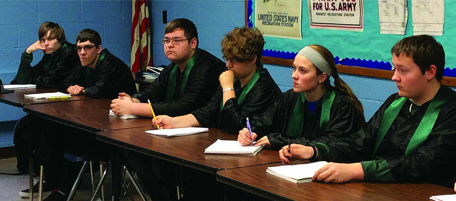 Fifth-hour government students playing the role of justices listen to attorneys argue their case during the mock trial. From the left, Ethan Gierish, Andrew Rochon, Logan Menzel, Madelyn Rusch, Halle Keim and Lance Gascho. (Submitted Photo)