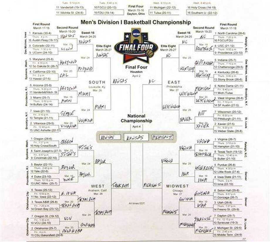 This photo shows the bracket of the NCAA college basketball tournament, taken in New York on Sunday, March 13, 2016. The filled out bracket is one man's opinion on which team is going to advance and find a way to Houston for the Final Four. (AP Photo/Hiro Komae) Photo: Hiro Komae