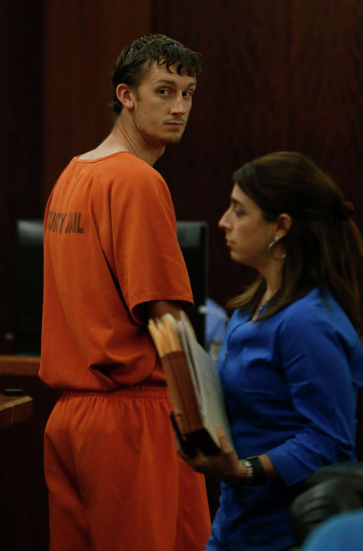 Marshall Patrick Schoen, the UH student accused of causing a drunken driving wreck that killed another UH student last week, appeared before Judge Mary Lou Keel in the 232nd District Court, Wednesday, April 20, 2016, in Brookshire.