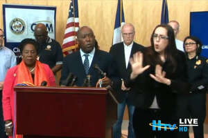 Sign language interpreter Ashley Henderson stole the show at a press conference held by the City of Houston and Mayor Sylvester Turner to discuss the impact of heavy rains and historic flooding on Houston and its suburbs.