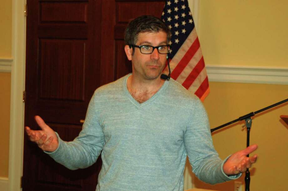 Sean Pica, executive director of Hudson Link, which brings higher education opportunities to prisons, speaking to the Greenwich Retired Men's Association on Wednesday, April 20, 2016. Photo: Ken Borsuk / Hearst Connecticut Media / Greenwich Time
