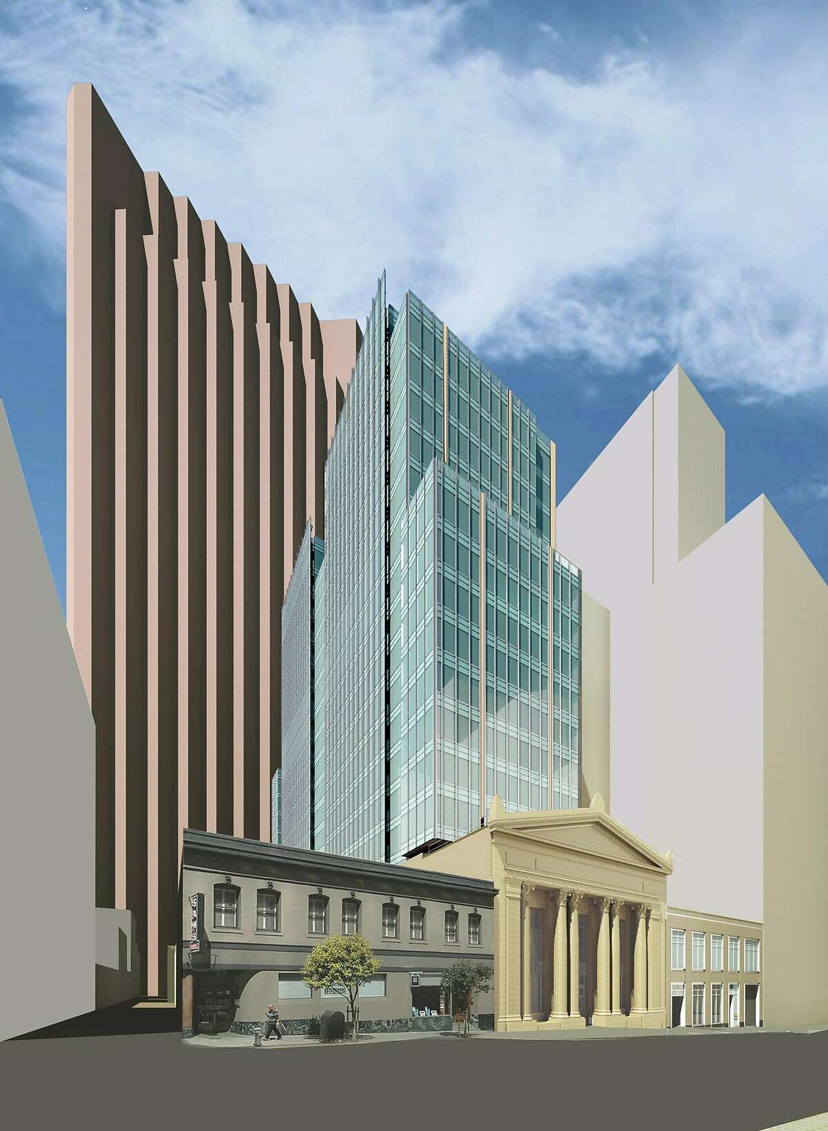 An architect's �rendering of the 350 Bush project as it will appear when completed, with the restored San Francisco Mining Exchange south of a 19-story tower that's now under construction. On the west is Belden Alley, and the Russ Building is on the right
