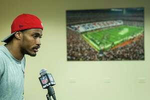 Houston Texans wide receiver Jaelen Strong answers questions during a news conference at NRG Stadium on  Wednesday, April 20, 2016, in Houston.