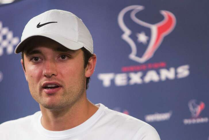 Houston Texans quarterback Brock Osweiler answers questions during a news conference at NRG Stadium on  Wednesday, April 20, 2016, in Houston.
