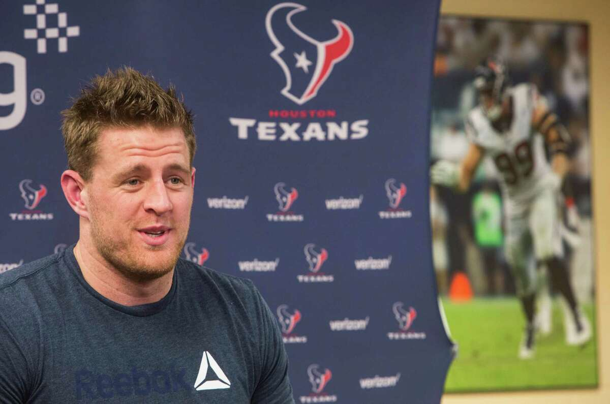 Houston Texans defensive end J.J. Watt answers questions during a news conference at NRG Stadium on Wednesday, April 20, 2016, in Houston.