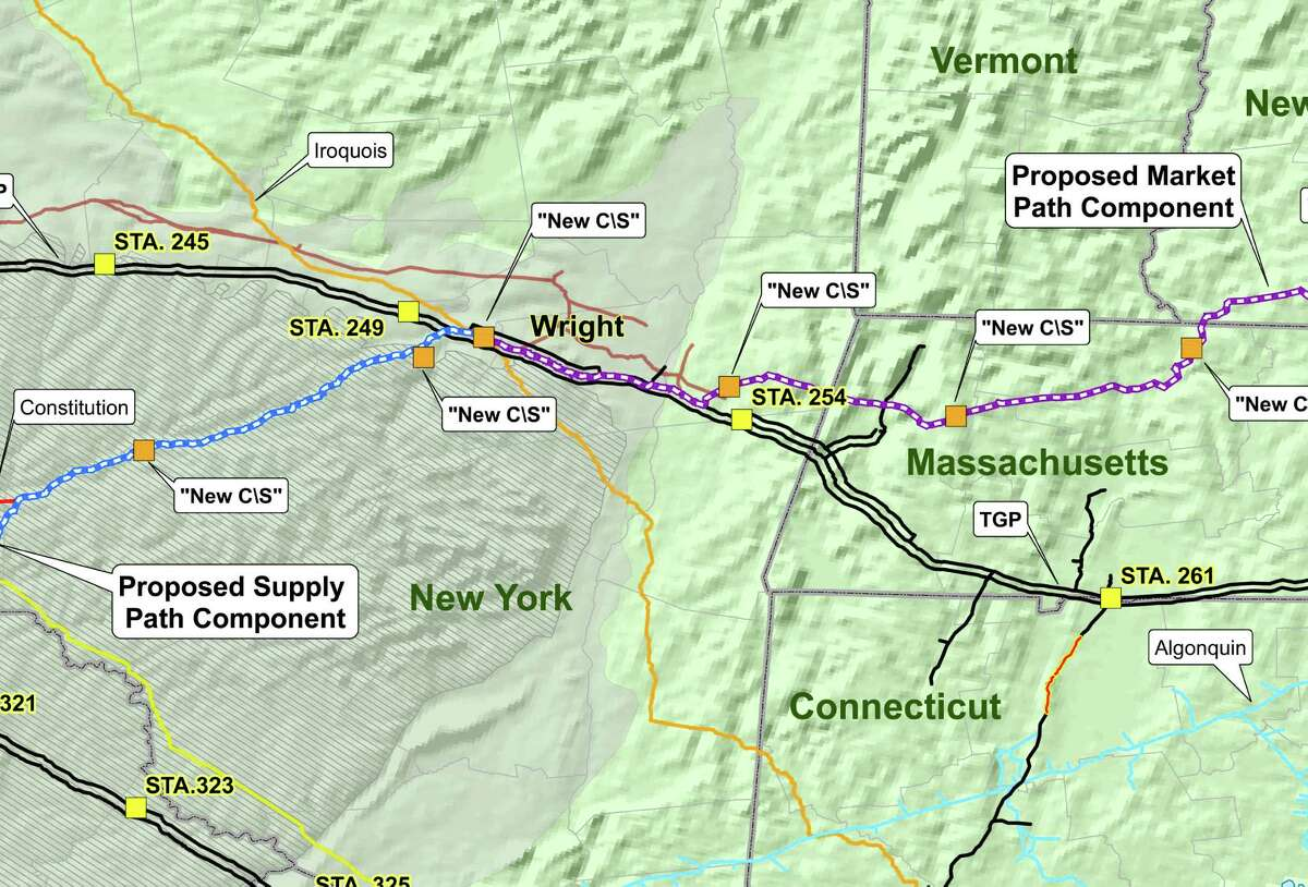Map showing the proposed route of Kinder Morgan?'s Northeast Energy Direct Project gas pipeline. (Kinder Morgan)