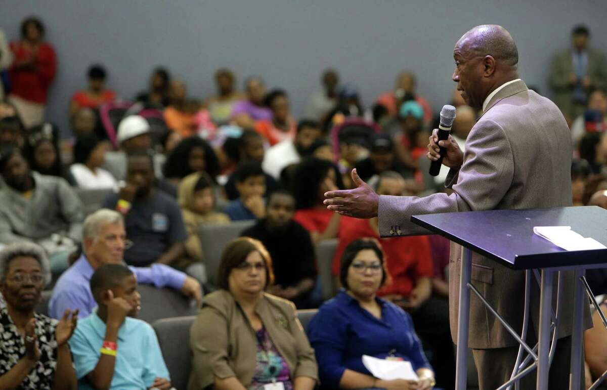 Mayor Sylvester Turner speaks during informational meeting about the flood held at Harvest Time Church, 17770 Imperial Valley Dr., Wednesday, April 20, 2016, in Houston.