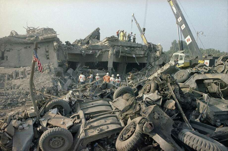 FILE - In this Oct. 23, 1983 file photo, the aftermath of the bombing of the U.S. Marines barracks in Beirut, Lebanon. The Supreme Court upheld a judgment allowing families of victims of Iranian-sponsored terrorism to collect nearly $2 billion. The court on Wednesday, April 20, 2016, ruled 6-2 in favor of relatives of the 241 Marines who died in a 1983 terrorist attack in Beirut and victims of other attacks that courts have linked to Iran.(AP Photo/Jim Bourdier, File) Photo: Jim Bourdier, STF