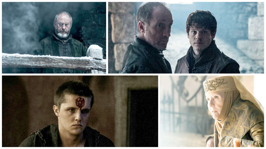 "Clockwise from top left: Liam Cunningham, Michael McElhatton, Iwan Rheon, Diana Rigg and Eugene Simon in ""Game of Thrones."" MUST CREDIT: Helen Sloan, HBO Photo: Helen Sloan / HBO"