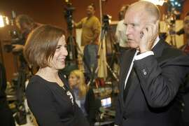 CAL STATEWIDE OFFICES_0099_cs.jpg Jerry Brown takes yet another call after a number of media interviews after arriving with his wife Ann.  Leading Democrats, including Dianne Feinstein, Jerry Brown, Barbara Boxer and Bill Lockyer attend a Democratic Party election night rally at Delancey St. Restaurant, Town Hall Rm., 600 Embarcadero, San Francisco. Chris Stewart / The Chronicle