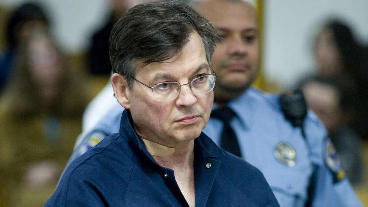 FILE - John Michael Farren, 57, of New Canaan, is arraigned in state Superior Court in Norwalk after he was charged with attempted murder and strangulation following a report of a domestic dispute.