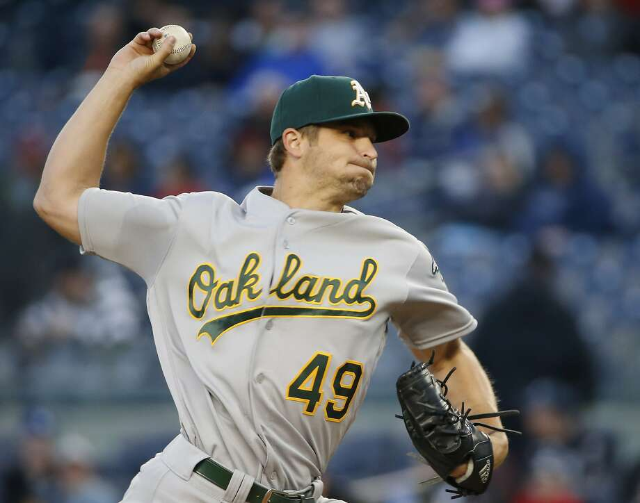 Oakland Athletics starting pitcher Kendall Graveman delivers in the first inning of a baseball game against the New York Yankees in New York, Wednesday, April 20, 2016. (AP Photo/Kathy Willens) Photo: Kathy Willens, Associated Press