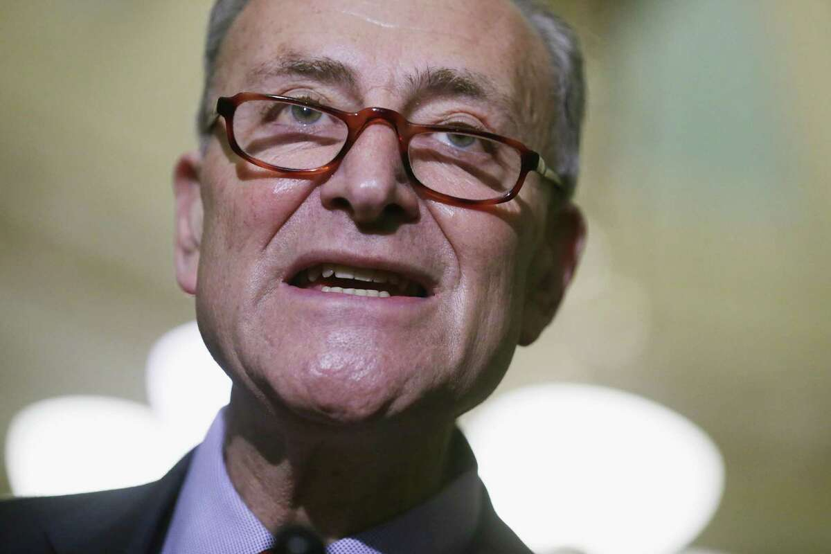 WASHINGTON, DC - APRIL 12: Sen. Charles Schumer (D-NY) speaks to reporters following the weekly Senate Democratic policy luncheon at the U.S. Capitol April 12, 2016 in Washington, DC. (Photo by Chip Somodevilla/Getty Images)