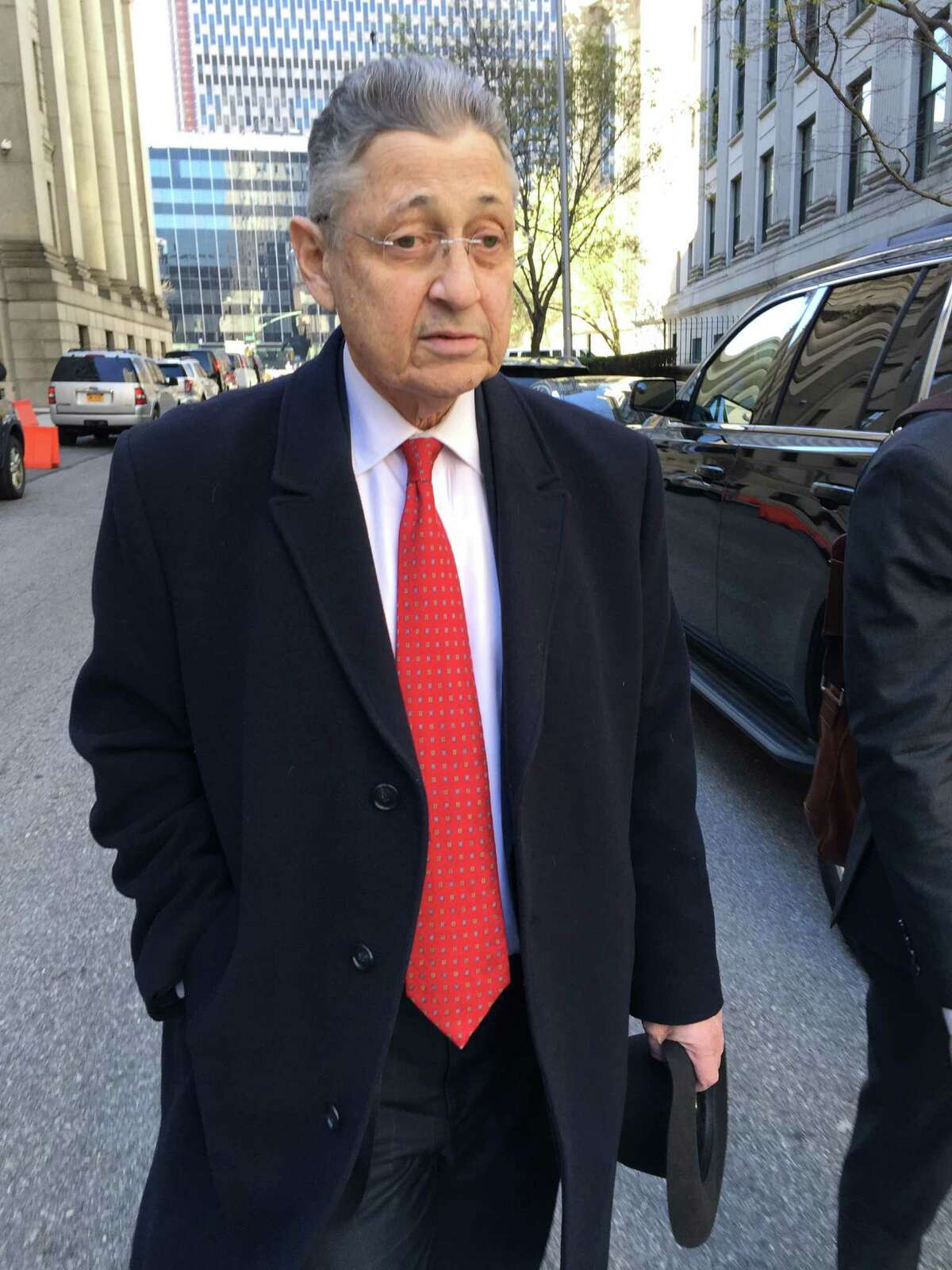 In this April 14, 2016 photo, former New York Assembly Speaker Sheldon Silver leaves court in New York. A judge says she plans to release information on Friday, April 15, that puts another blemish on the former Assembly Speaker's record in office. The 72-year-old Democrat was convicted in November in a $5 million corruption case. (AP Photo/Larry Neumeister)