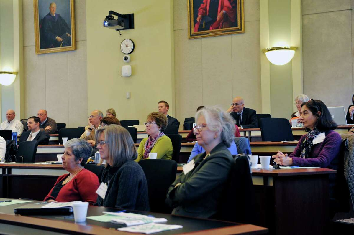 Attendees to a forum on government ethics held at Albany Law School listen as former Lt Gov Richard Ravitch addresses them on Wednesday, April 20, 2016, in Albany, N.Y. (Paul Buckowski / Times Union)