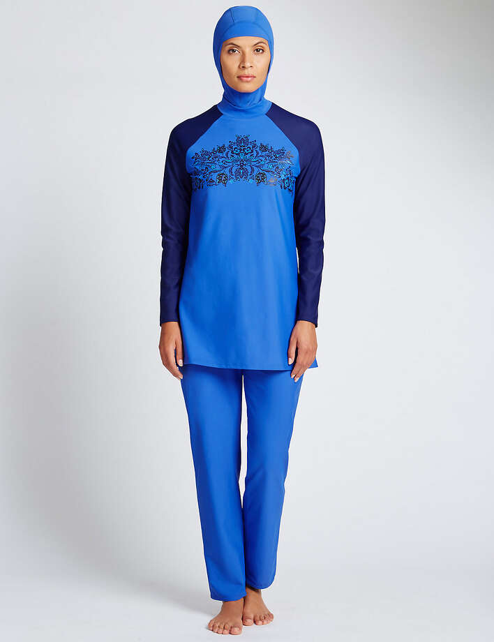 "An undated screen capture from the Marks & Spencer website of a ""burkini."" The creation and marketing by designers of conservative clothing aimed at the Muslim market has prompted a debate about tolerance and understanding vs. aesthetic and female equality in France. (Handout via The New York Times) -- NO SALES; FOR EDITORIAL USE ONLY WITH STORY SLUGGED ISLAMIC FASHION BY FRIEDMAN FOR APRIL 14, 2016, 2016. ALL OTHER USE PROHIBITED. Photo: HANDOUT, HO / HANDOUT"